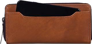 Women's RFID Blocking Large Capacity Leather Wallet Zip Around Phone Clutch Large Travel Purse Wristlet