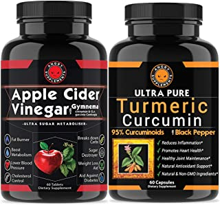 Apple Cider Vinegar Pills for Weightloss and Turmeric Curcumin (2 Pack Bundle) Natural Detox Remedy Includes Gymnema, Garcinia, BioPerine for Complete Diet and Health - Starter Kit or Gift