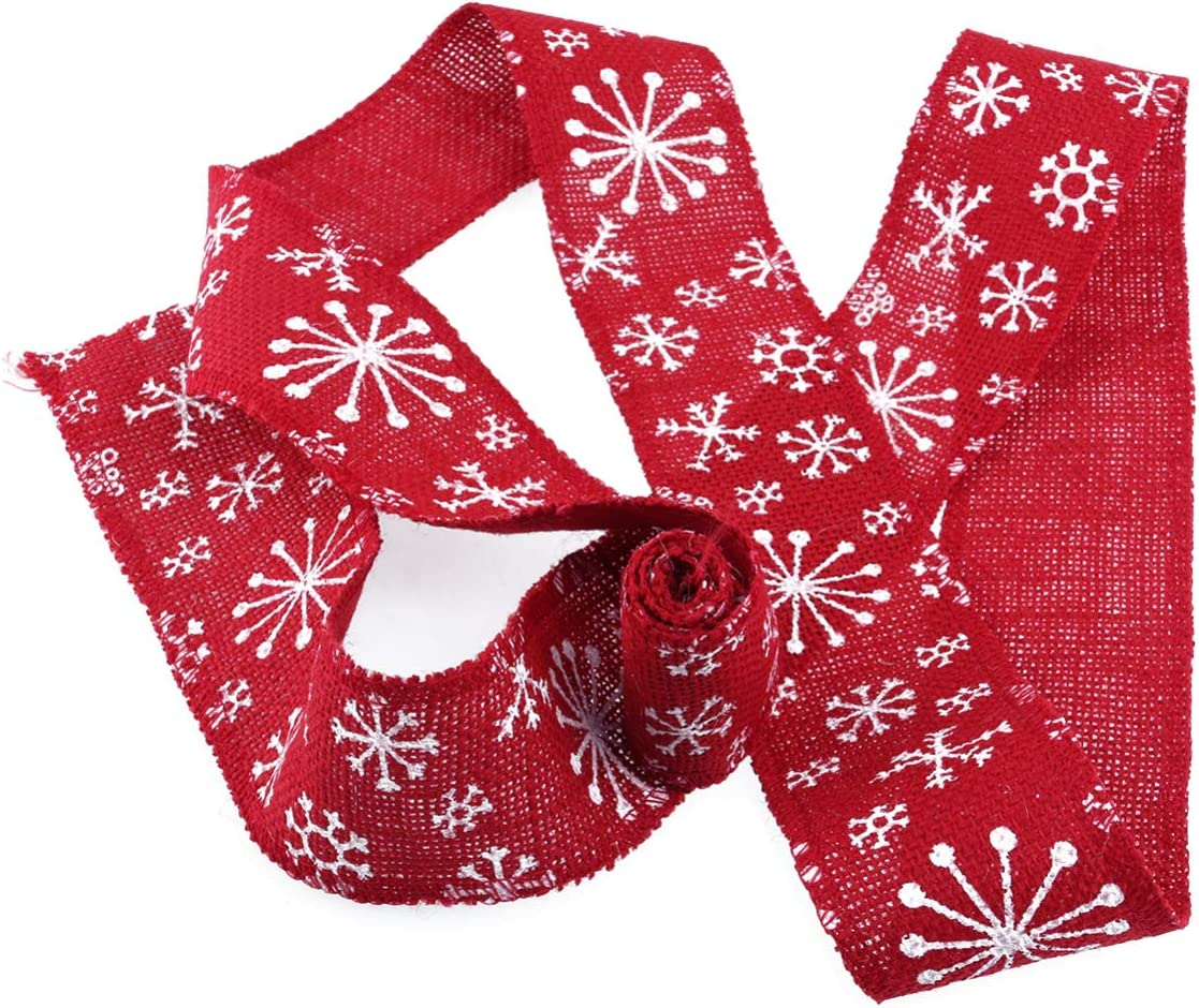 Brown+White BESPORTBLE Burlap Ribbon Snowflake Pattern Craft Chic Creative for DIY Crafts Home Wedding Christmas Decoration Props