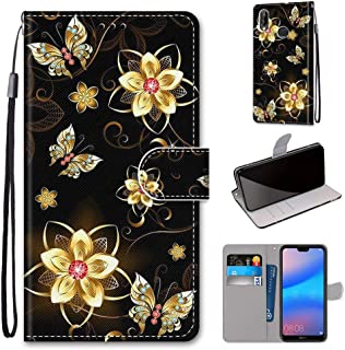 Mylne Full Body Case for Huawei Honor 8X,Colorful Pattern Design PU Leather Flip Wallet Case Cover with Magnetic Closure Stand Card Slot,Diamond Butterfly