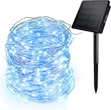 Ankway Solar String Lights Blue, 200 LED Fairy Lights 3-Strand Copper Wire Light 8 Modes 72 ft Outdoor String Lights Water...