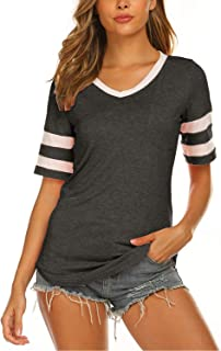 Sweetnight Women's Striped Tops Casual V Neck Baseball Tee Shirts Short/Long Sleeve Casual Blouse Color Block Tunic Tops
