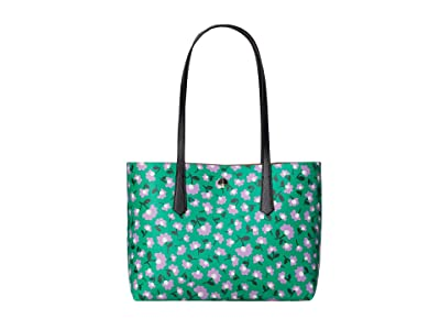 Kate Spade New York Molly Party Floral Small Tote (Green Multi) Bags