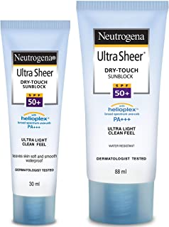 Neutrogena Ultra Sheer Dry Touch Sunblock SPF 50+ Sunscreen For Women & Men, 30ml and Neutrogena Ultra Sheer Dry Touch Sun...