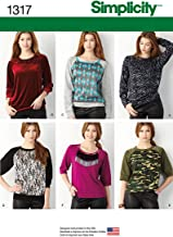 Simplicity Creative Patterns 1317 Misses' Pullover Knit Top Sewing Patterns, Size A (XXS-XS-S-M-L-XL-XXL)