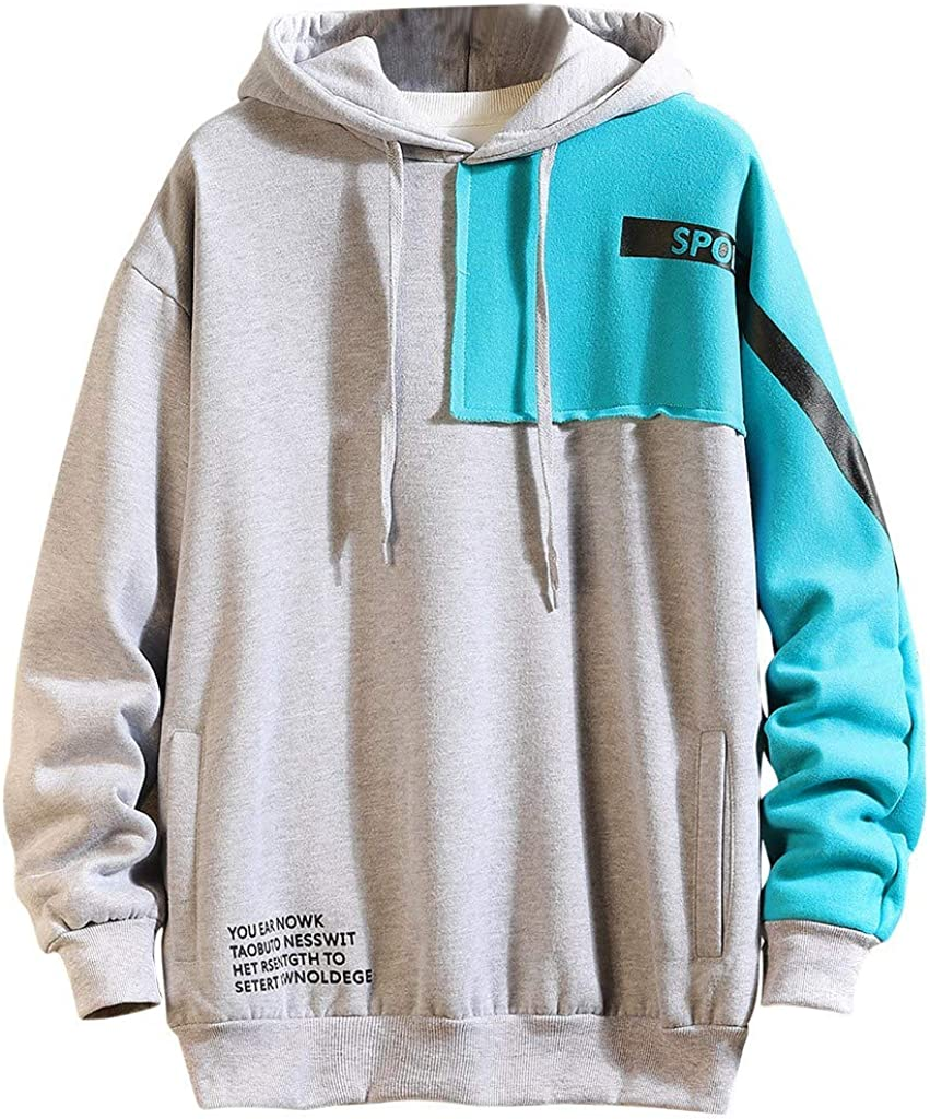 DIOMOR Mens Plus Size Fashion Color Block Hoodie with Pockets Casual Patchwork Sweatshirt Hooded Tops Outerwear