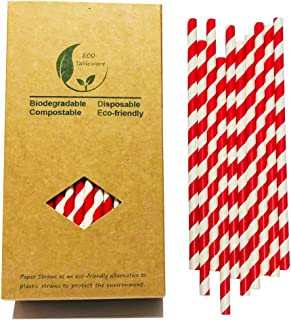 Bright Red and White Stripes Barber Drinking Paper Straws Biodegradable Food Grade, 7.75 Inch Light Red Stripes for Daily Use,Pajitas para Beber (100 Pack)
