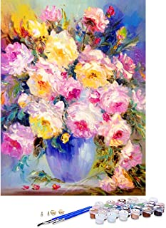 GIEAAO Acrylic Paint by Numbers for Adults Flower Pot, DIY Oil Painting Kit Plant Canvas Pictures Drawing Paintwork with P...