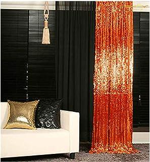 Pailletten Vorhänge für Schlafzimmer, Fenster Dekoration, Pailletten Vorhang für Baby Show, Fotohintergrund 2FTx8FT 1 Panel Orange