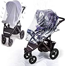 Universal Stroller Rain Cover with Mosquito Net - Protects Babies from Sun, Wind, Rain, Snow, Dust - Breathable Bug Shield for Baby Stroller and Crib with Ventilation Lids