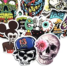 Cool Pop Culture Stickers. Laptop Skins Decals, for Ipad Skateboard Luggage Bottle, Waterproof, No Repeat, Mixed,Pack of 50 (Skull)