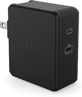 شاحن حائط Crave USB-C 45W مع توصيل طاقة PD لهاتف iPhone 12 وSamsung Galaxy وiPad Pro والمزيد - أسود