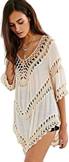 Vanbuy Women's Boho V Neck Crochet Tunic Tops Blouse...
