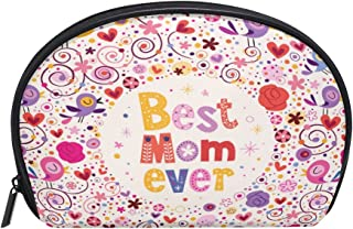 ALAZA Best Mom Ever Floral Half Moon Cosmetic Makeup Toiletry Bag Pouch Travel Handy Purse Organizer Bag for Women Girls