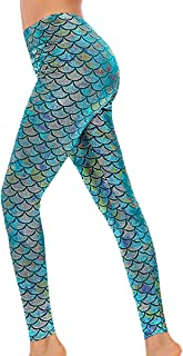 Alaroo Halloween Shiny Fish Scale Mermaid Leggings for Women Pants S-4XL