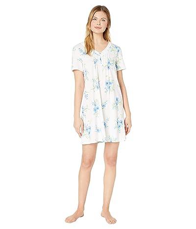 Carole Hochman Soft Jersey Short Sleeve Short Gown (White/Aqua Floral) Women