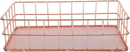 Uchwyt na biurko organizer różowe złoto metalowa kratka owoce odzież stół biurko organizer pojemnik do szafek kuchennych, ...