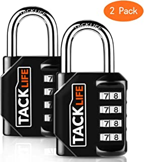 Combination Lock, TACKLIFE 2 Pack Padlocks with 4 Digits, Locker Locks for School, Gym, Fence and Toolbox -HCL1B