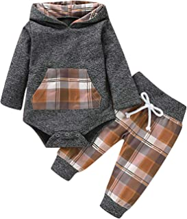 Viworld Newborn Baby Boys Girls Hoodie Outfits Infant Plaid Pocket Sweatshirt Jacket Top+ Long Pants Brother Sister Clothes Set
