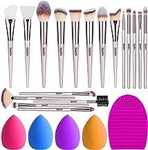 TEATTY Makeup Brushes 18 PCs Makeup Brush Set 2 PCS Silicone Face Mask Brush&4 Blender Sponge&1 Brush Cleaner Premium Synthetic Foundation Powder Concealers Eye Shadows Makeup Brushes Kit