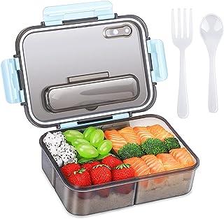 Boîte à bento pour adultes et enfants, boîte à lunch en plastique à emporter et boîte de rangement pour aliments, style be...