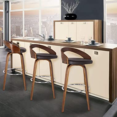 Armen Living Sonia Multi Color Options Faux Leather Swivel Kitchen Barstool With Walnut Wood Finish and Chrome Footrest, 26&#