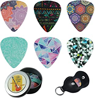 Guitar Picks - Cheliz 12 Medium Gauge Celluloid Guitar Picks In a Box W/Picks Holder. Unique Guitar Gift For Bass, Electric & Acoustic Guitars (Colourful Pattern)