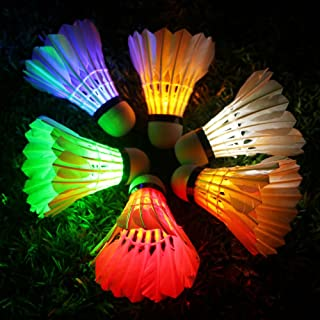 Inngree LED Badminton, 6Pack Shuttlecock Dark Night Goose Feather Glow Birdies Lighting for Outdoor Indoor Sports Activities