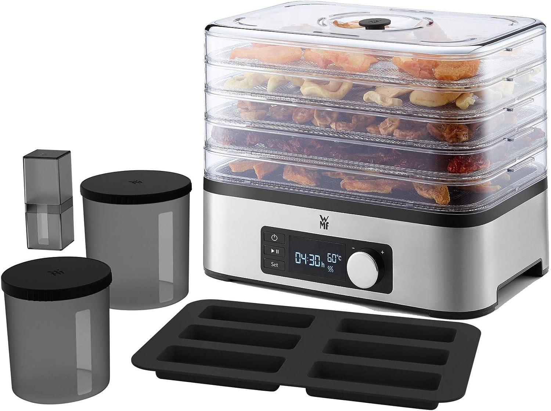 WMF Kitchenminis Deshidratadora Snack To Go, 250 W con 5 bandejas altura regulable, pantalla LCD, 30 - 70ºC, libre de BPA ,Tritan, Acero Inoxidable cromargan