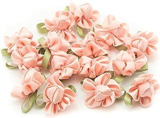 18mm Blue Satin Ribbon Rose Buds Flowers 20 50 /& 100 Pack Sizes Rosebud