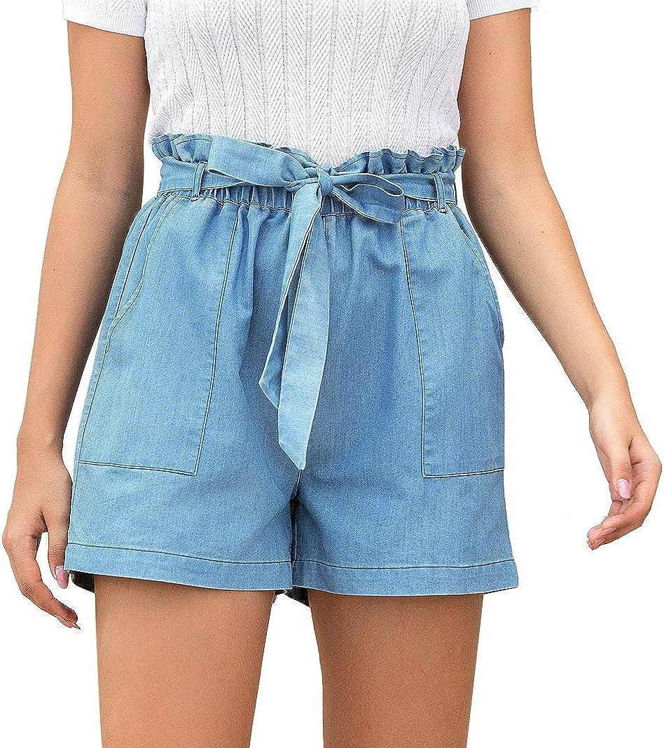Les umes Womens Loose High Elastic Wasit Denim Shorts Deep Pocket Self Tie Paperbag Wasit Shorts
