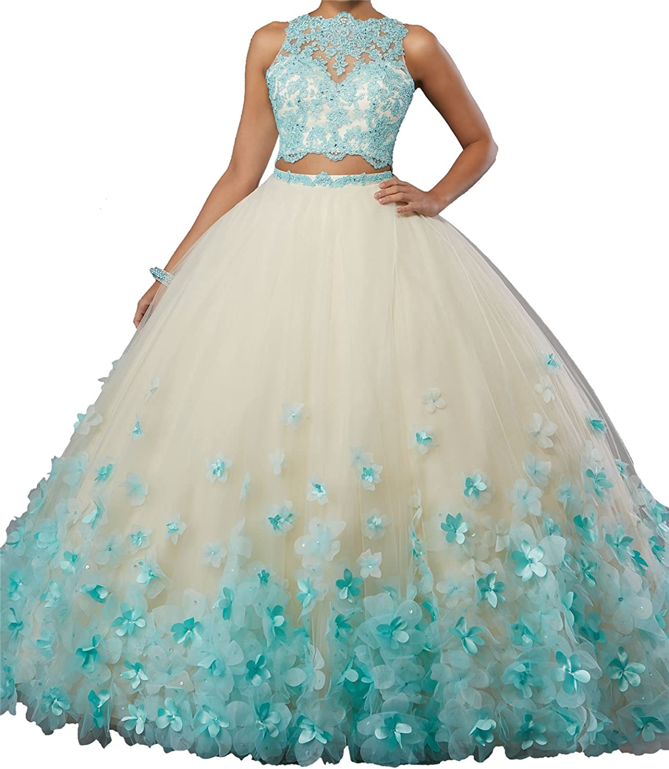 Yang Sweet Girls 16 Two Pieces Ball Gowns Women Lace Quinceanera Dresses