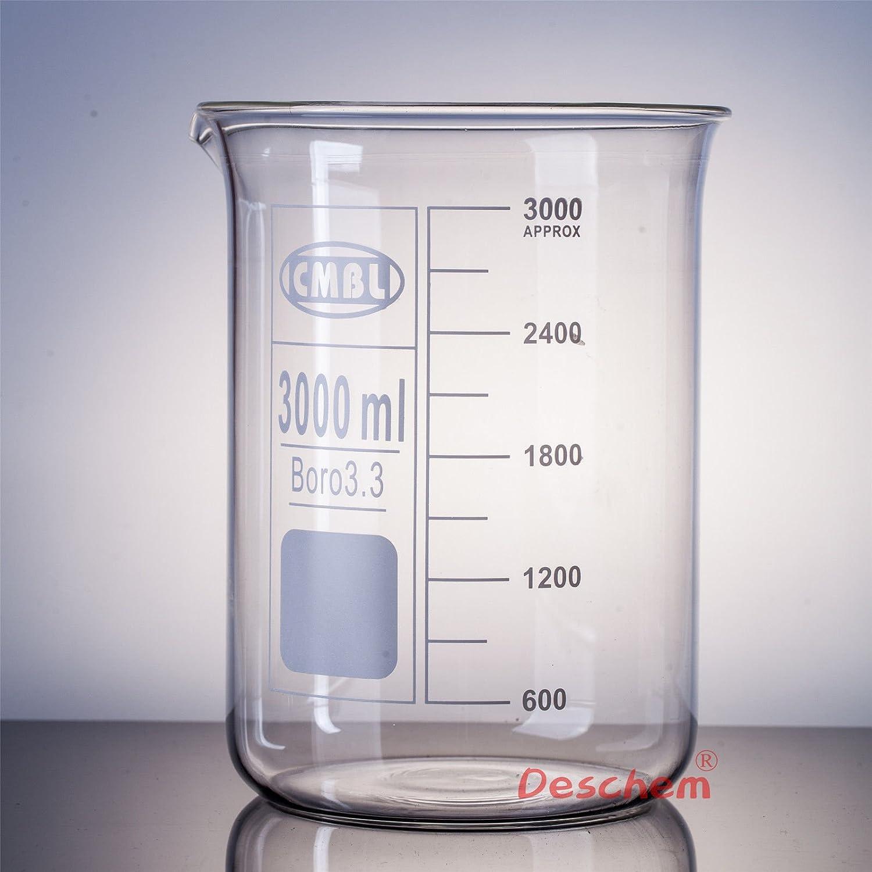 Deschem 3000mL Glass low-pricing Beaker 3 Litre Bo Form Good Low Denver Mall Quality Lab