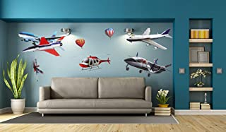 New Arrival 3D Wall Stiker Airplane Fire Balloon Removable Home Decor Wall Decals for Kid's Room Nursery