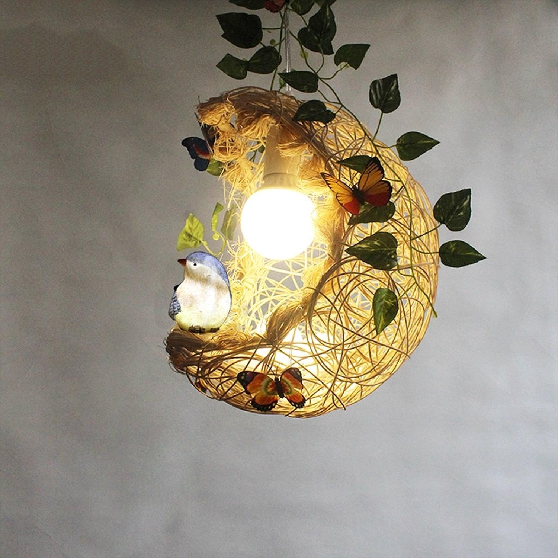 HCJ Rattan Moon Birdcage Lustre Salon Chambre à coucher Restaurant étude Chambre pour enfants Plafonnier la satisfaction (Couleur   A)