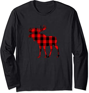 Moose Buffalo Red Plaid Long Sleeve Shirt Gift