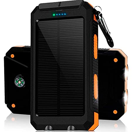 Solar Charger 30,000mAh, Dualpow Portable Solar Battery Charger External Battery Pack Phone Charger Power Bank for Cellphones Tablet with Flashlight and a 3 Feet Micro USB Cord (Orange/Black B)