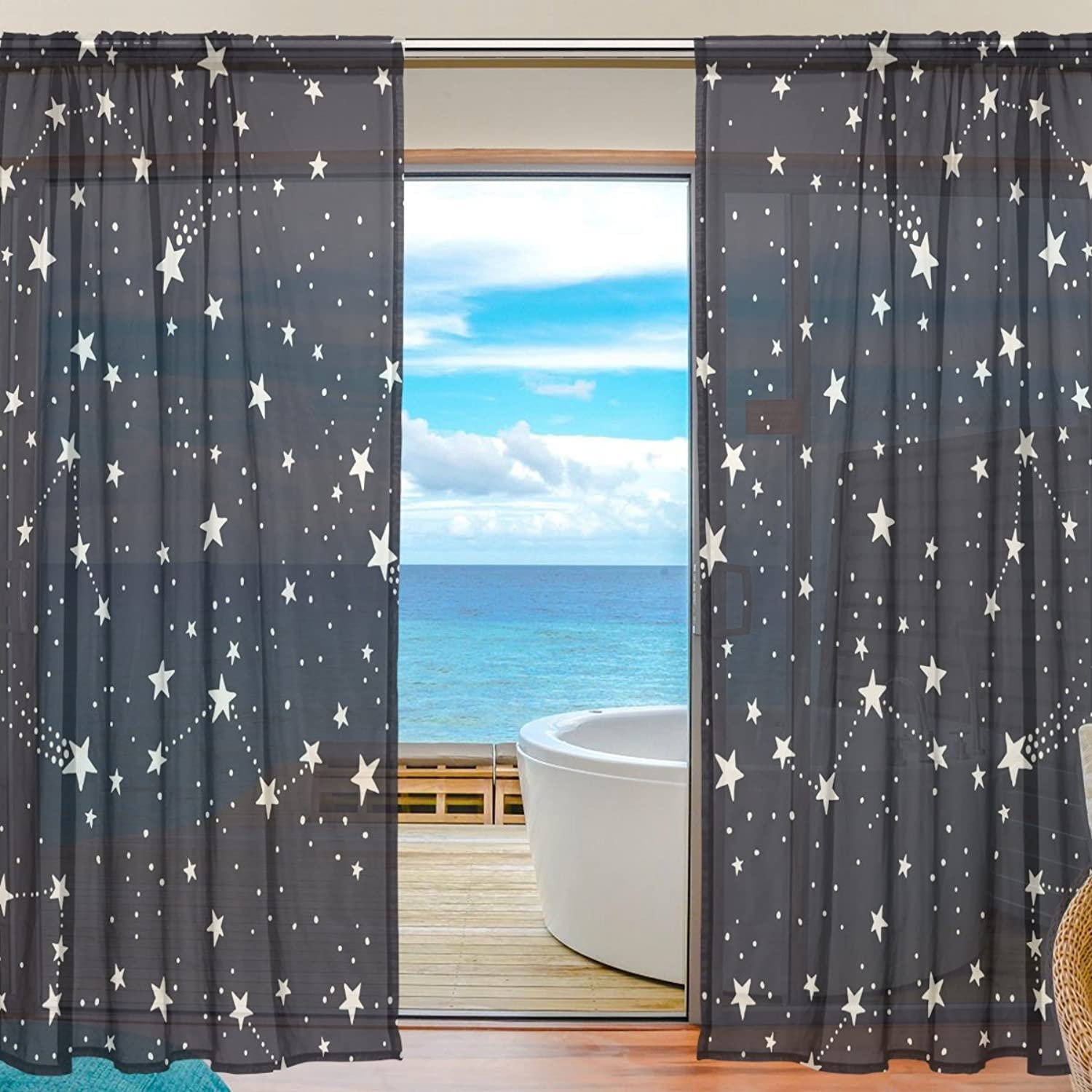 Vantaso Sheer Curtains 78 inch Long Constellations Stars for Kids Girls Bedroom Living Room Window Decorative 2 Panels