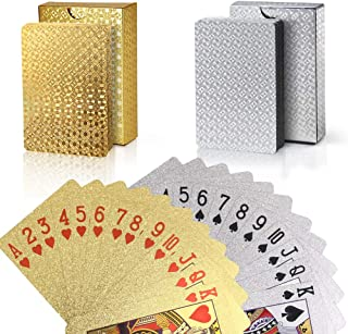 Joyoldelf 2 Decks of Playing Cards, 24K Foil Waterproof Poker with Gift Box – Classic Magic Tricks Tool for Party and Game, 1 Gold + 1 Silver