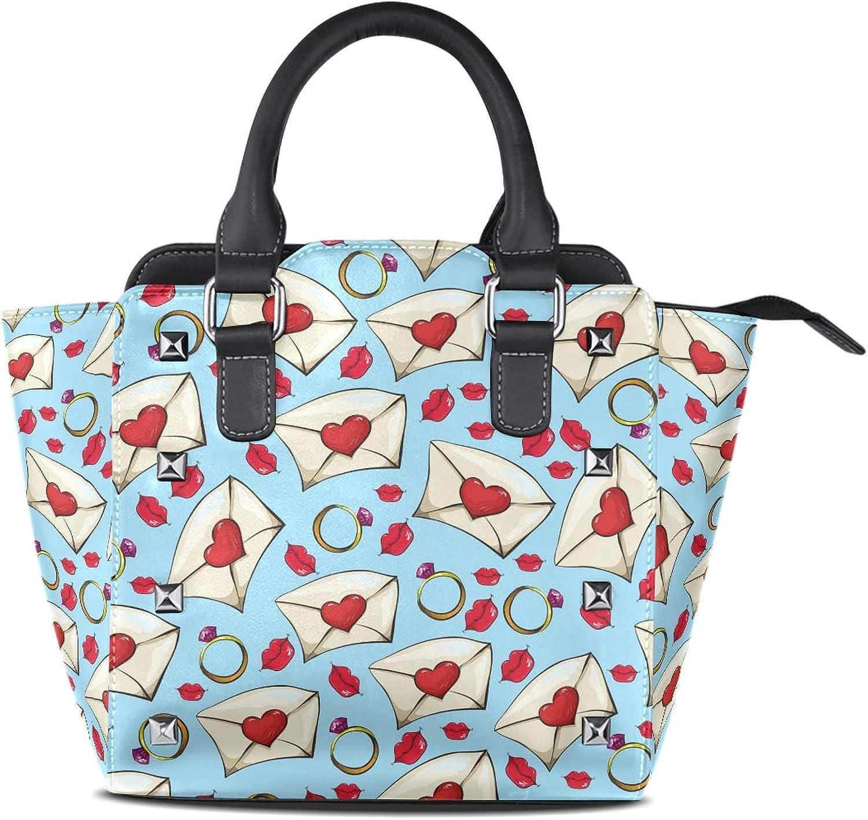 My Little Nest Women's Top Handle Satchel Handbag Valentine's Day Lips and Letters Ladies PU Leather Shoulder Bag Crossbody Bag