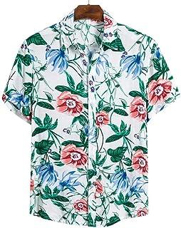 Hombres Camisas Casuales Moda Hawaiana Impreso de Manga Corta Camisas de Playa Vacaciones Floral Verano-CS131_M