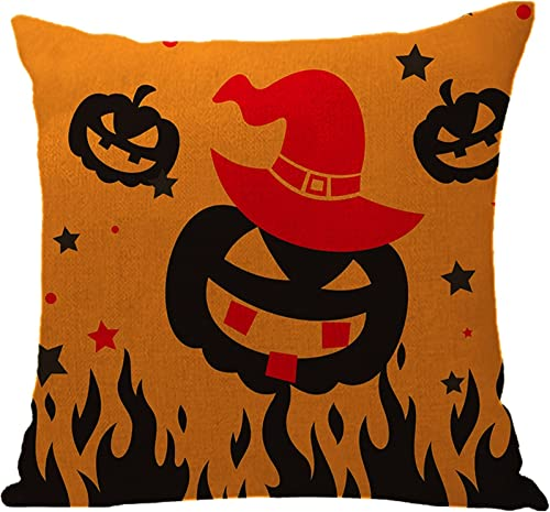 discount RiamxwR Halloween Throw Pillow Covers 18 X 18 Inch Happy Halloween Cushion Covers Linen Fabric Pillowcases popular for Halloween Home Sofa Bedroom new arrival Car Decor (Style C) outlet online sale