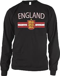 Men's England Flag Colors and Lion Crest Long Sleeve Shirt