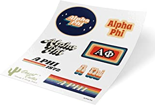 Alpha Phi 70's Themed Sticker Sheet Decal Laptop Water Bottle Car (Full Sheet - 70's)