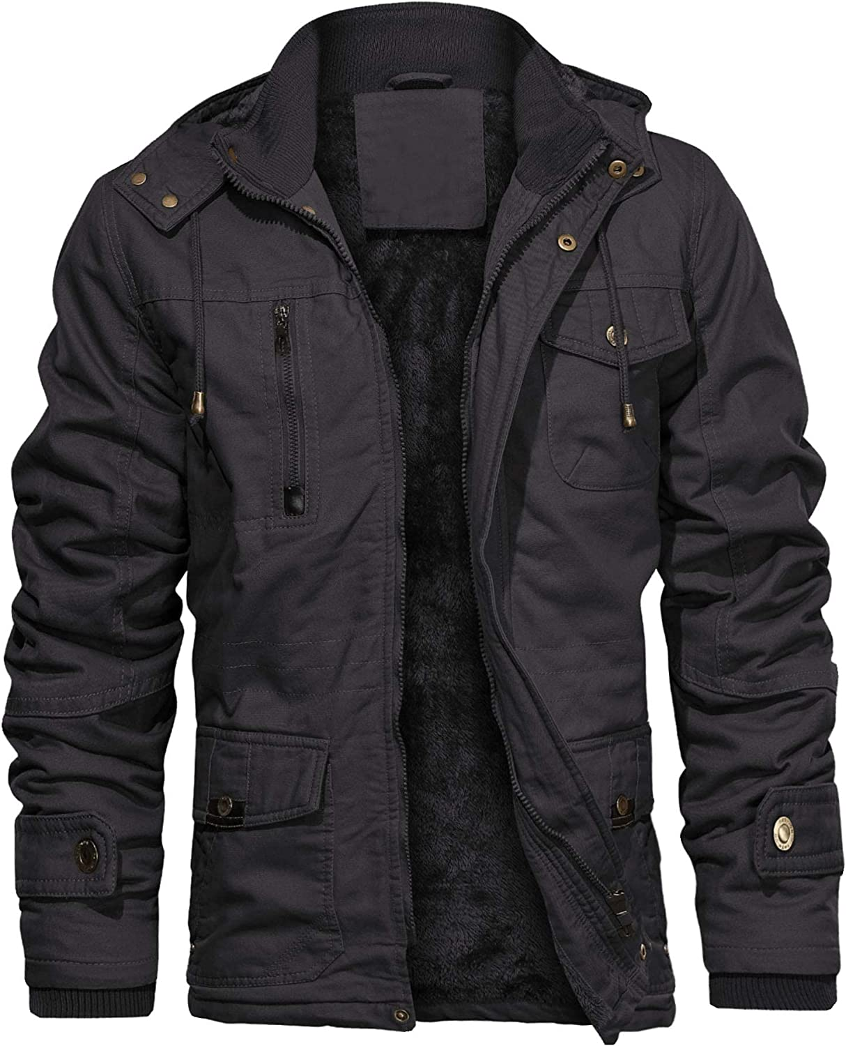 LEPOAR Men's Cotton Multi Pocket Stand Collar Canvas Work Coats Windbreaker Military Thicken Removable Hood Jacket