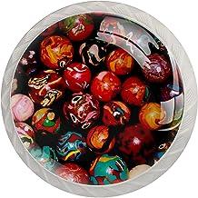 Gekleurde ballen, 4-Pack van ABS hars keukenkast knoppen trekt ronde afdrukken dressoir knoppen lade handgrepen kast deurk...