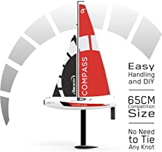 VOLANTEXRC Remote Control Sailing Boat RC Sailboat Compass 650mm 2.4Ghz 4-Channel Ready to Run(RTR) RG65 Class Competition RC Boat RTR for Beginners, Adults (791-1)