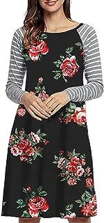 EasyMy Women's Long Sleeve Floral Print Stripe Loose Casual T-Shirt Dress