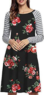EasyMy Women's Long Sleeve Floral Print Stripe Loose Casual T-Shirt Dress