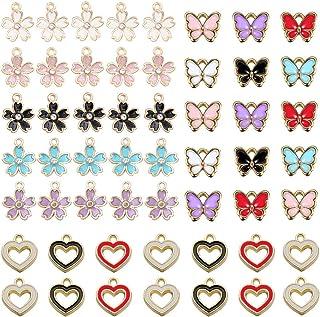 Gativs 140 Pièces Breloques Charm Pendentif Papillon Fleur Pendentif Breloque de Papillon Breloques Bracelet Bijoux Breloq...